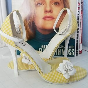 BAKERS Yellow Checkered Floral Ankle Strap Sandals